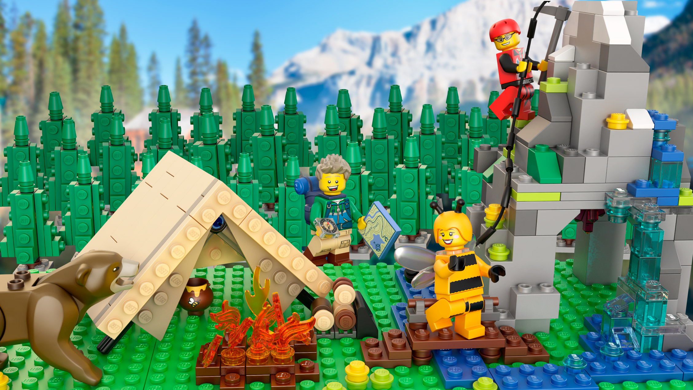 Lego mountain, tent and bear.