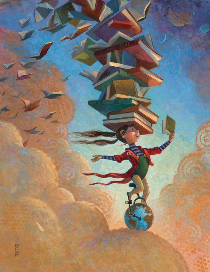 Girl on globe with books on her head.