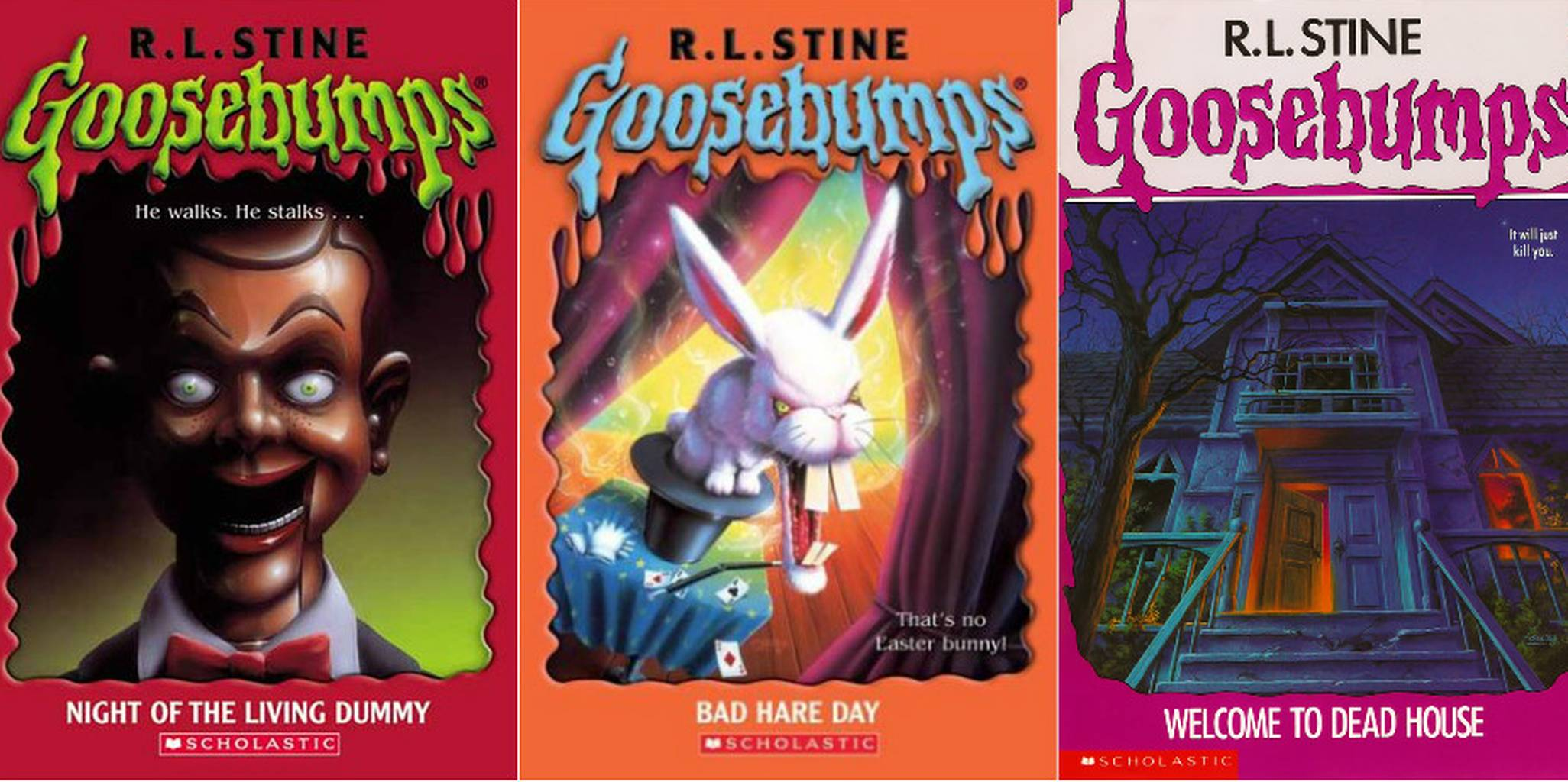 Covers of three Goosebumps books.