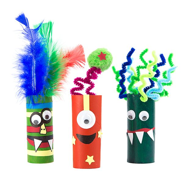 Cardboard tubes with eyes, teeth and hair
