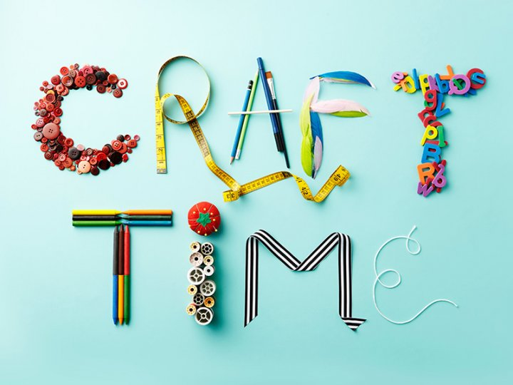 "The words ""craft time"" spelled out in craft supplies."