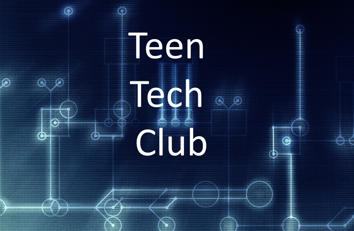 teen tech club on blue hardware background