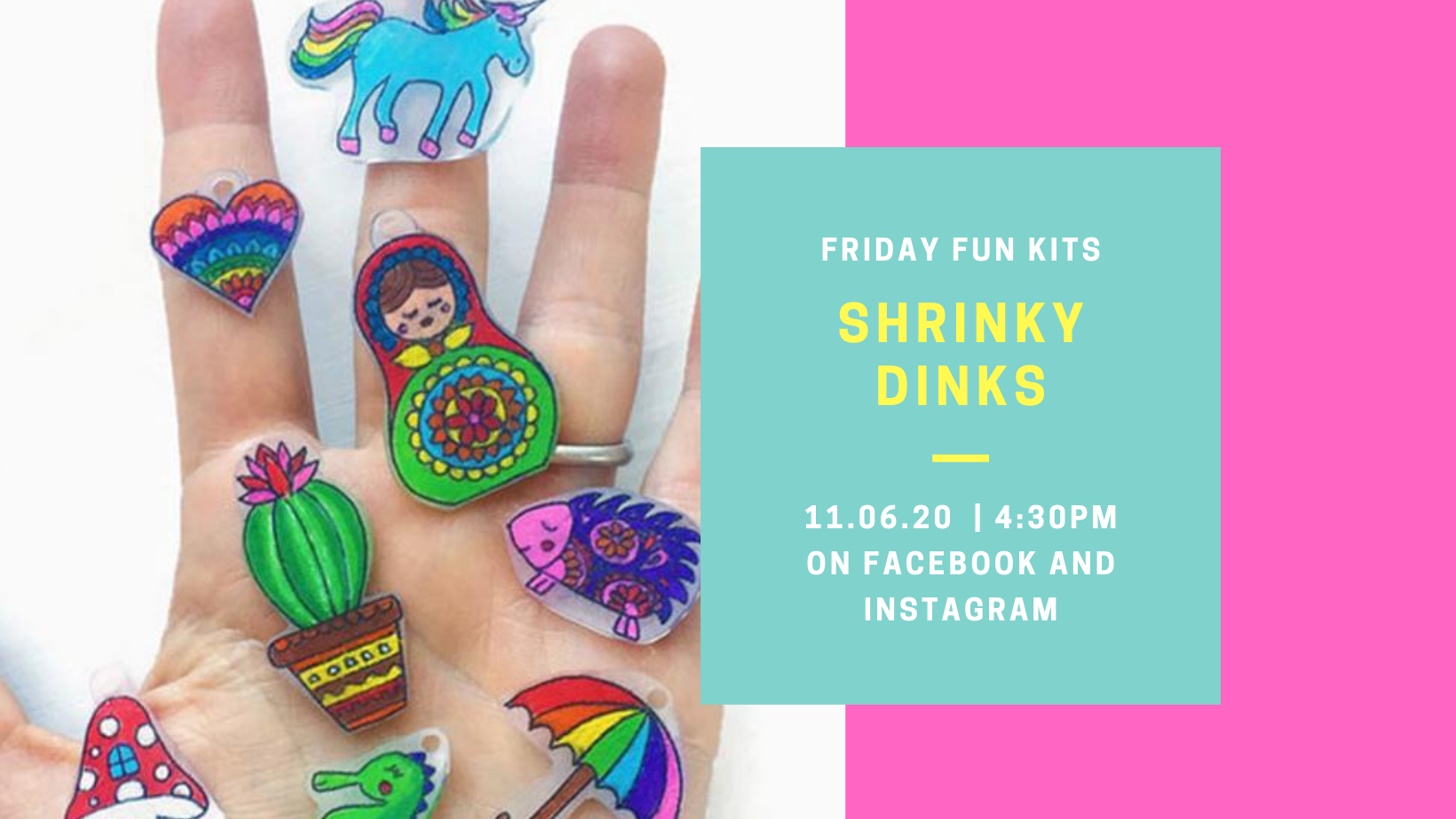 Hand holding a variety of Shrinky Dinks.