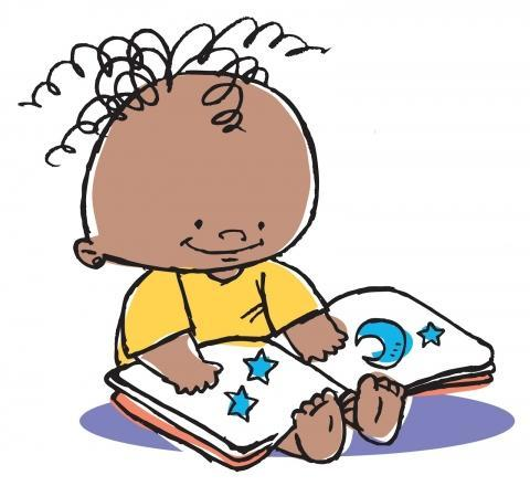 Cartoon baby reading