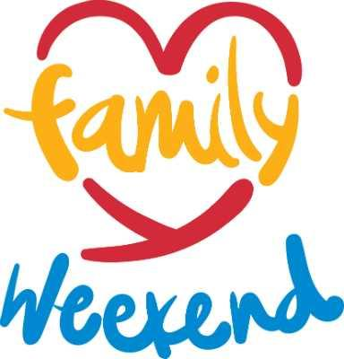 "A heart with ""Family Weekend"" written over it."
