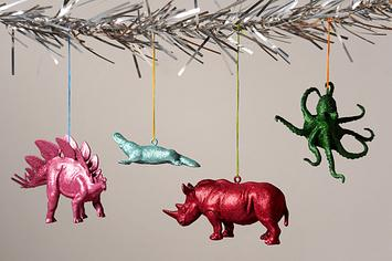 Spray painted plastic animals