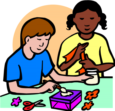 Boy and girl crafting.