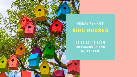 A variety of brightly colored bird houses.