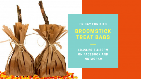 Witchs' broomsticks made out of paper bags.
